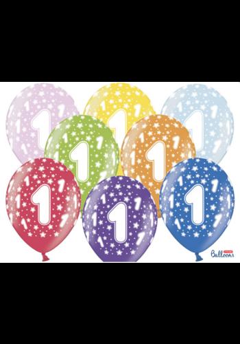 Ballonnen Metallic 1 jaar - 30cm - 6 stuks