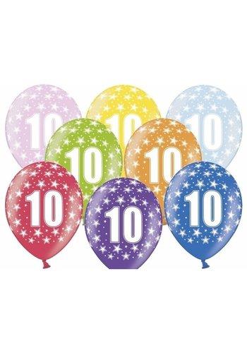 Ballonnen Metallic 10 jaar - 30cm - 6 stuks