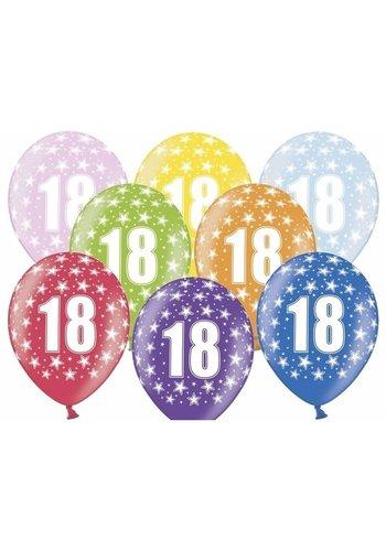 Ballonnen Metallic 18 jaar - 30cm - 6 stuks
