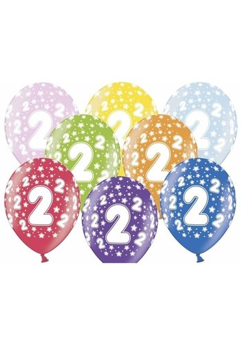 Ballonnen Metallic 2 jaar - 30cm - 6 stuks