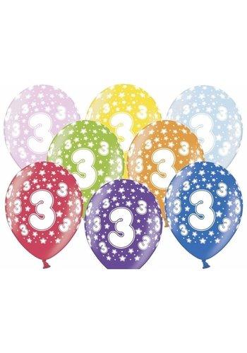 Ballonnen Metallic 3 jaar - 30cm - 6 stuks