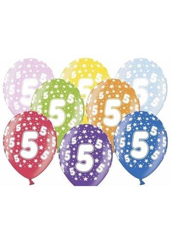 Ballonnen Metallic 5 jaar - 30cm - 6 stuks
