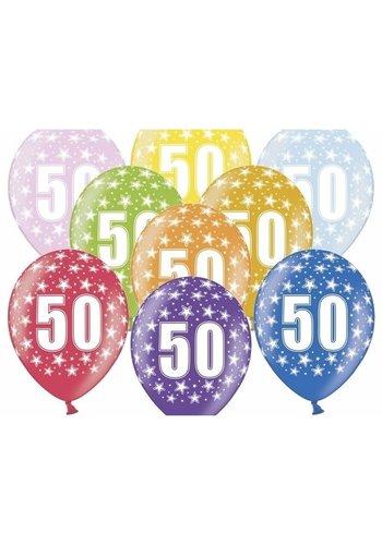 Ballonnen Metallic 50 jaar - 30cm - 6 stuks