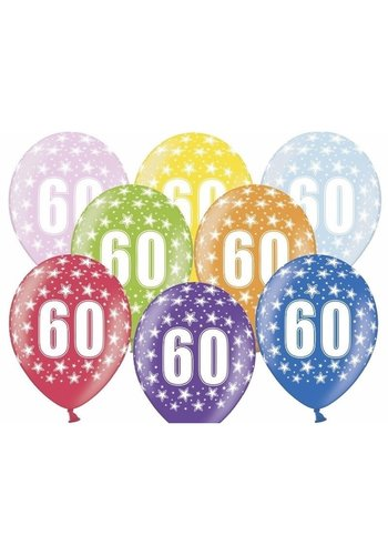 Ballonnen Metallic 60 jaar - 30cm - 6 stuks