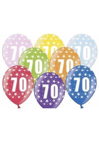 Ballonnen Metallic 70 jaar - 30cm - 6 stuks