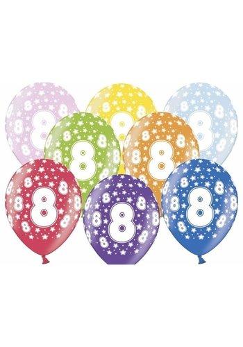 Ballonnen Metallic 8 jaar - 30cm - 6 stuks