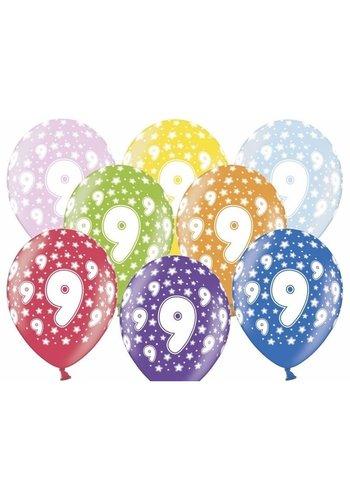 Ballonnen Metallic 9 jaar - 30cm - 6 stuks