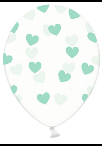 Ballonnen Doorzichtig met Mint Groene hartjes - 30cm - 6st