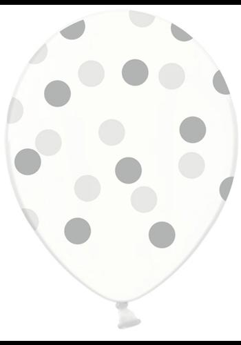 Ballonnen Doorzichtig met zilveren stippen - 30cm - 6st