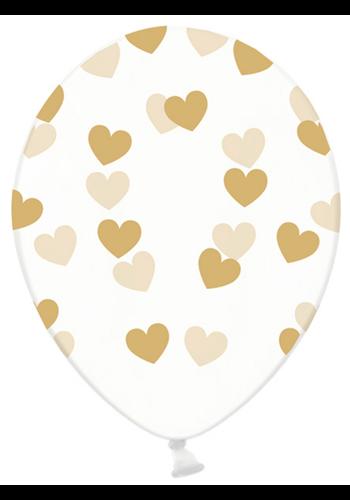 Ballonnen Doorzichtig met gouden hartjes - 30cm - 6st