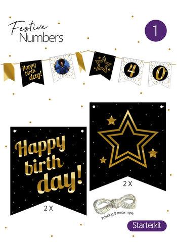 "Festive numbers starter kit ""Happy Birthday"" 4 st. + lijn"
