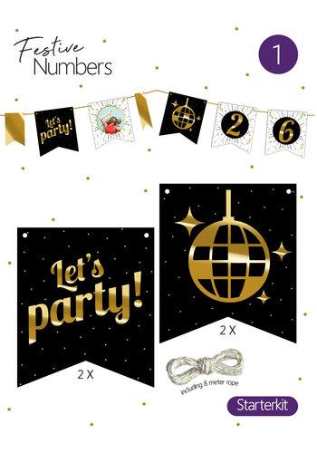 "Festive numbers starter kit ""Let's Party"" 4 st. + lijn"
