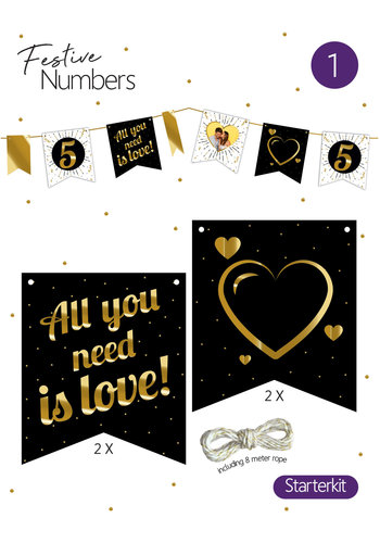 "Festive numbers starter kit ""Love"" 4 st. + lijn"
