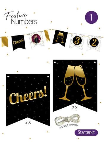 "Festive numbers starter kit ""Cheers"" 4 st. + lijn"