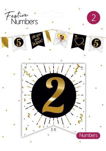 """Festive numbers """"2"""" 3 stuks"""