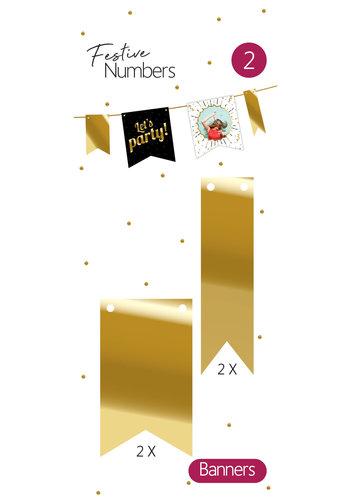 Festive numbers gouden vaantjes 4 stuks