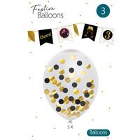 Confetti ballonnen zwart/goud