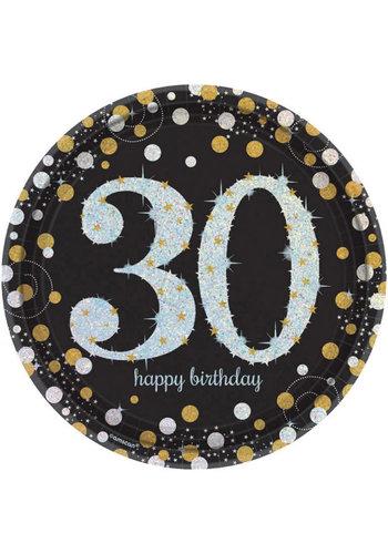Bordjes 30 Sparkling Celebration Silver&Black - 8 st - 23cm