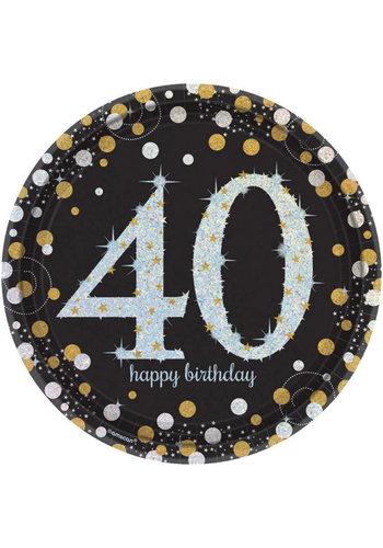 Bordjes 40 Sparkling Celebration Silver&Black - 8 st - 23cm