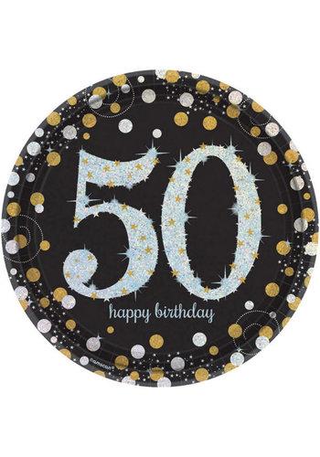 Bordjes 50 Sparkling Celebration Silver&Black - 8 st - 23cm