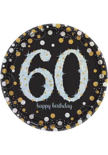 Bordjes 60 Sparkling Celebration Silver&Black - 8 st - 23cm