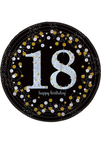 Bordjes 18 Sparkling Celebration Silver&Black - 8 st - 23cm