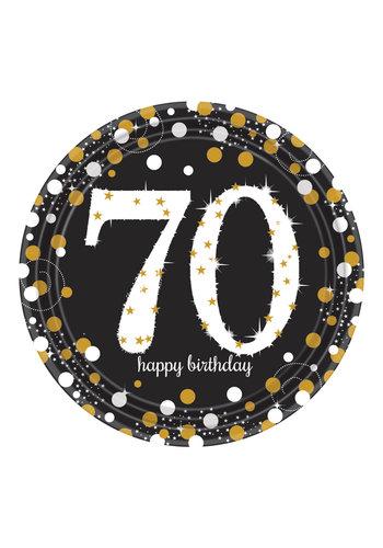 Bordjes 70 Sparkling Celebration Silver&Black - 8 st - 23cm