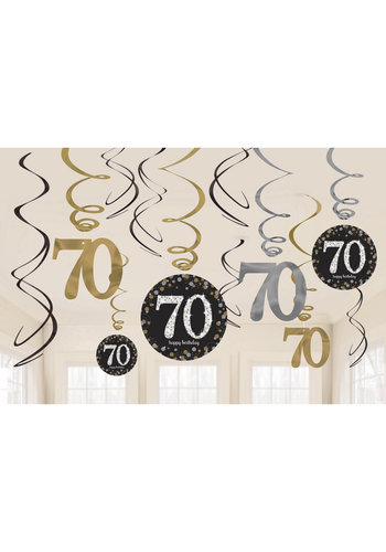 Swirl Decoration Happy Birthday 70 Silver & Black - 12 stuks