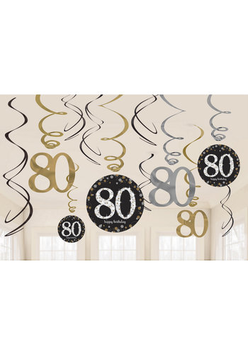 Swirl Decoration Happy Birthday 80 Silver & Black - 12 stuks