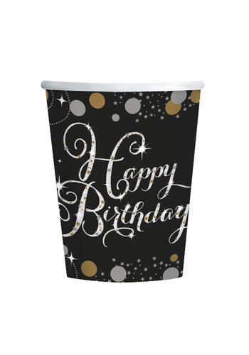 Bekertjes Happy Birthday Sparkling Celebration Silver&Black - 8 st - 266ml