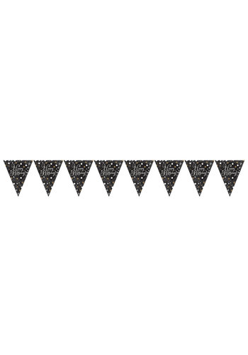 Vlaggenlijn Happy Birthday Sparkling Celebration Silver&Black - 396,2 x 21,5 cm