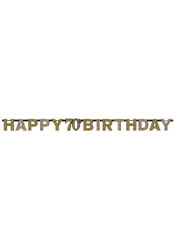 Letterbanner Happy 70th Birthday Silver & Black  - 213 x 16.2 cm