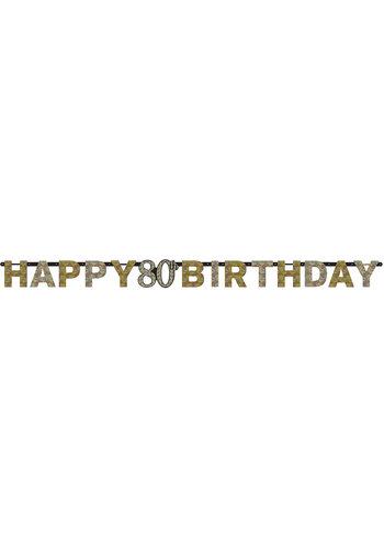Letterbanner Happy 80th Birthday Silver & Black - 213 x 16.2 cm