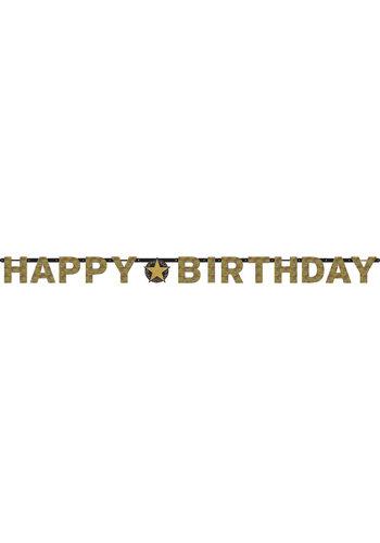Letterbanner Happy Birthday Silver&Black