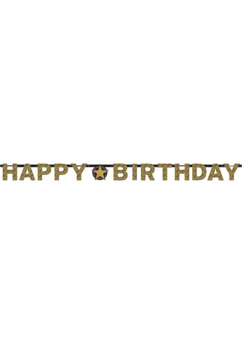 Letterbanner Happy Happy Birthday Birthday Silver&Black - 213 x 16.2 cm