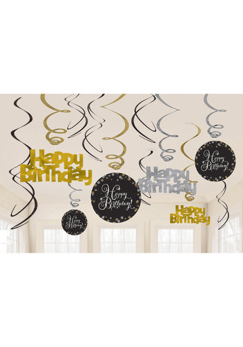 Swirl Decoration Happy Birthday Silver&Black- 12 stuks