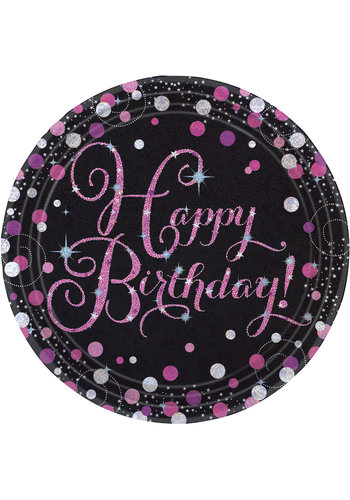 Bordjes Happy Birthday Sparkling Celebration Pink&Black - 8 st - 23cm