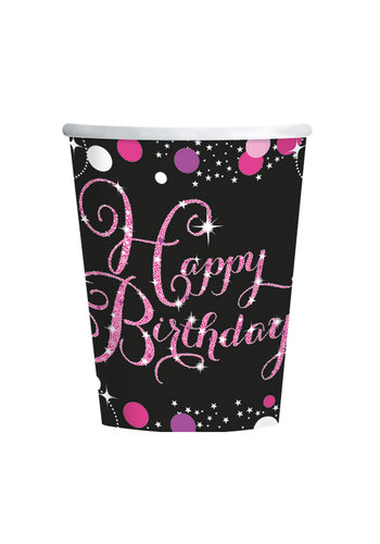 Bekertjes Happy Birthday Sparkling Celebration Pink&Black - 8 st - 266ml