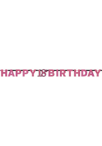 Letterbanner Happy 18th Birthday Pink&Black - 213 x 16.2 cm