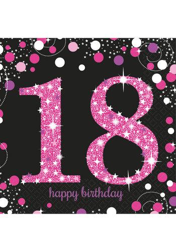 Servetten 18 Sparkling Celebration Pink&Black - 16 st - 33x33cm