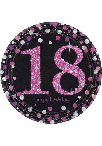 Bordjes 18 Sparkling Celebration Pink&Black - 8 st - 23cm