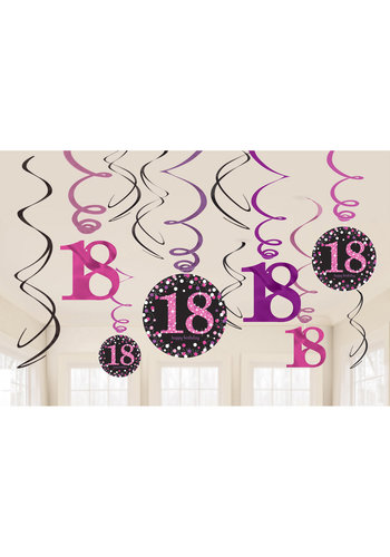 Swirl Decoration Happy Birthday 18 Pink&Black- 12 stuks
