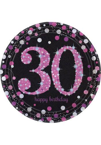 Bordjes 30 Sparkling Celebration Pink&Black - 8 st - 23cm