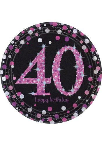 Bordjes 40 Sparkling Celebration Pink&Black - 8 st - 23cm