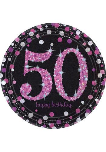 Bordjes 50 Sparkling Celebration Pink&Black - 8 st - 23cm