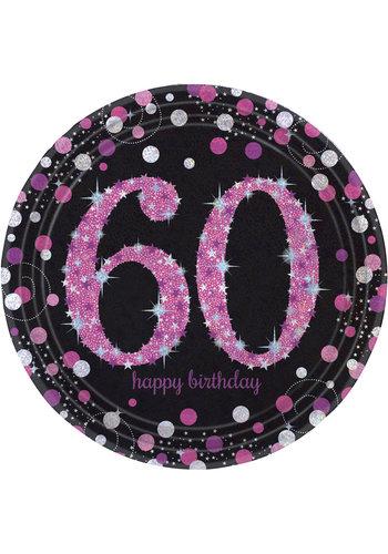 Bordjes 60 Sparkling Celebration Pink&Black - 8 st - 23cm