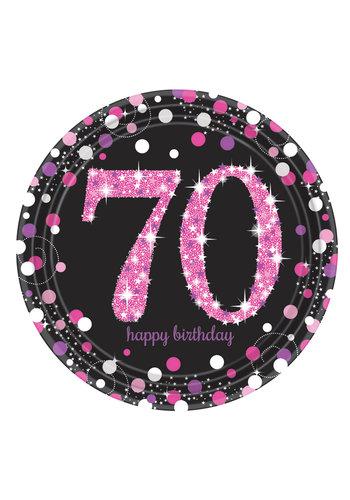 Bordjes 70 Sparkling Celebration Pink&Black - 8 st - 23cm