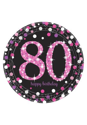 Bordjes 80 Sparkling Celebration Pink&Black - 8 st - 23cm