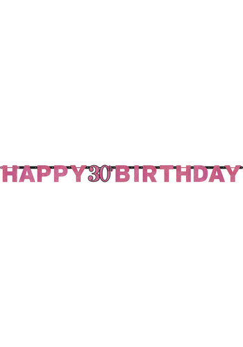 Letterbanner Happy 30th Birthday Pink&Black - 213 x 16.2 cm