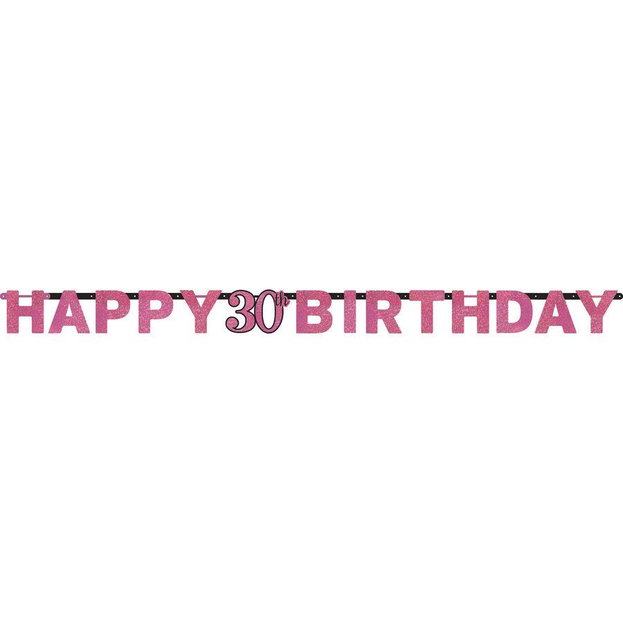 Letterbanner Happy 30th Birthday Pink & Black-1